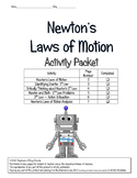 Newton's Laws of Motion Activity Packet 5th, 6th, 7th, 8th, Homeschool