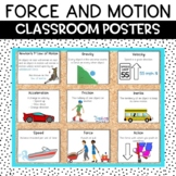 Newton's Laws of Motion and Force Anchor Chart Classroom Decor Posters