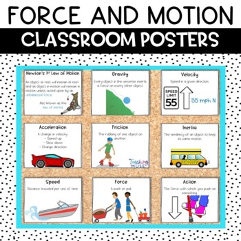 newton s laws of motion and force anchor chart classroom decor posters