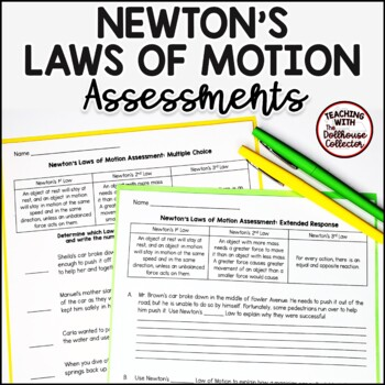 Newton's Laws of Motion Assessments with Answer Keys - Physical Science