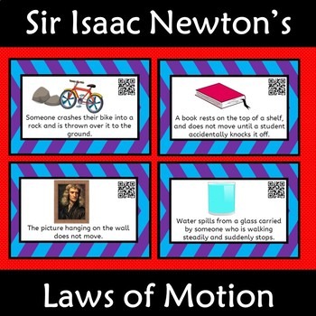 Newton's Laws of Motion Card Sort with QR code Isaac Newton