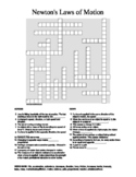 Newton's Laws of Motion Crossword Puzzle