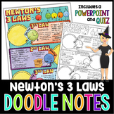 Newton's 3 Laws of Motion Science Doodle Note with PowerPoint & Quiz