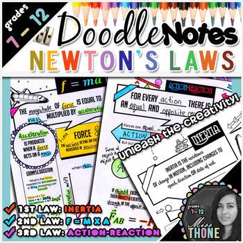 Newton S Laws Of Motion Doodle Notes Bundle