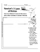 Newton's Laws: Graphic Organizer Page - Draw one of Newton's Laws in Action