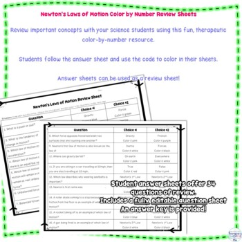 Newton's Laws of Motion Halloween Color by Number Editable Review Activity