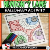 Newton's Laws of Motion Halloween Color by Number Editable