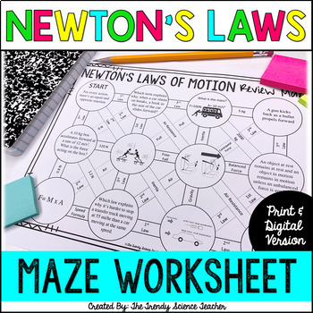 newton 39 s laws of motion maze worksheet by the trendy science teacher. Black Bedroom Furniture Sets. Home Design Ideas