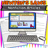 Newton's Laws of Motion Nonfiction Reading Activity for Go