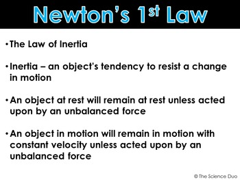 Newton's Laws of Motion - PowerPoint and Notes