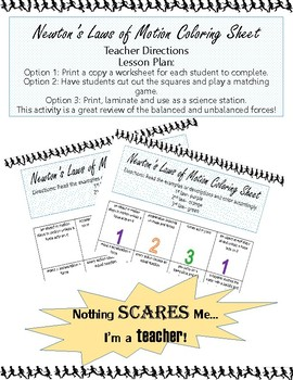 Newton's 3 Laws of Motion Printable Coloring Worksheet