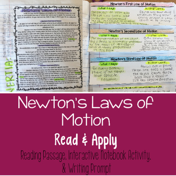 Newton's Laws of Motion Reading Comprehension Interactive Notebook