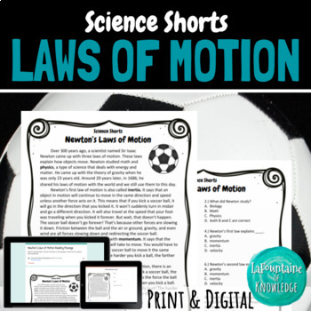 Newton's Laws of Motion Reading Comprehension Passage