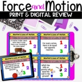 Newton's Laws of Motion Review Printable Google Classroom and BOOM Task Cards