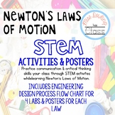 Newton's Laws of Motion STEM Labs and Posters Bundle