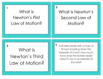Newton's Laws of Motion Task Card