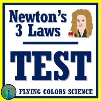 Newton's 3 Laws of Motion Test Assessment NGSS Middle School MS-PS2-2 MS-PS2-1