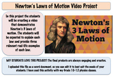 Newton's Laws of Motion Video Project (Editable)