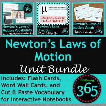 Newton's Laws of Motion Vocabulary Unit Bundle