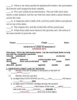 Newton's Laws of Motion Worksheet and Review