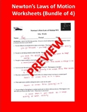 Newton's Laws of Motion Worksheets (Package of 4)