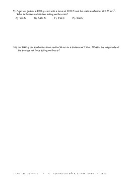 Newton's Second Law- Quiz or Worksheet