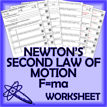 F Ma Newton S Second Law Of Motion Worksheet
