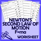F=ma Newton's Second Law of Motion Worksheet