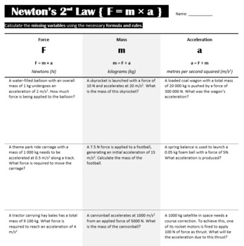Newton S Second Law Of Motion F Ma Worksheet