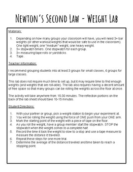 Newton's Second Law of Motion Laboratory Activity - Weight Lab