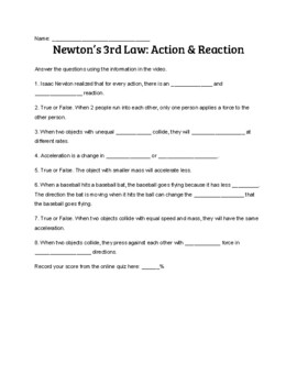 Newton's Third Law Action and Reaction Study Jams