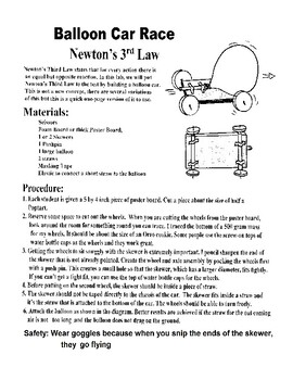 Newton's Third Law - Balloon Car Lab
