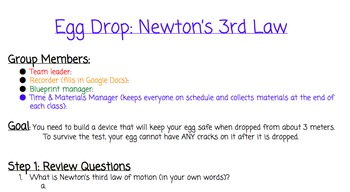 Newton's Third Law Egg Drop
