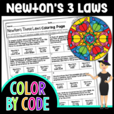 Newton's Three Laws Fall Color By Number | Science Color B