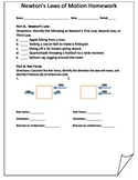 Newton's Three Laws of Motion Homework