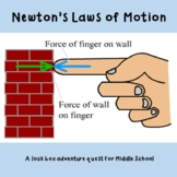 Newton's Laws of Motion - A Lock Box Adventure Quest (no math) for STEM Day