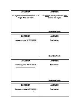 Newton's 1st & 2nd Law Quiz-Quiz-Trade