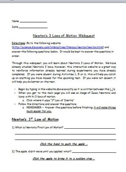 Newton's 3 laws Webquest