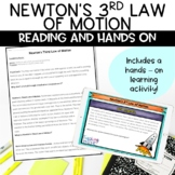 Newton's Third Law of Motion Nonfiction Article and Hands on Activity