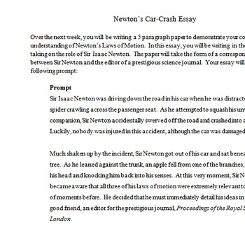 newton s car crash essay by molly taylor teachers pay teachers newton s car crash essay