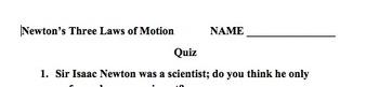 Newton's Law of Motion Quiz 8th Grade Science