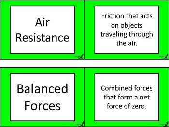 Newton's Laws Flashcard Definitions!