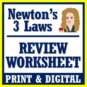 Newton's Laws Review Worksheet (Middle School) NGSS MS-PS2-2 MS-PS2-1