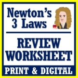 Newton's Laws Worksheet Review (Middle School) NGSS MS-PS2-2 MS-PS2-1
