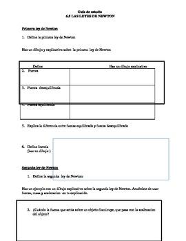 Newton's Laws Study Guide (DUAL LANGUAGE SPANISH)
