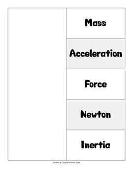 Newton's Laws Vocabulary Fold