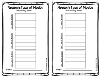 Newton's Laws of Motion Activity Center Packet