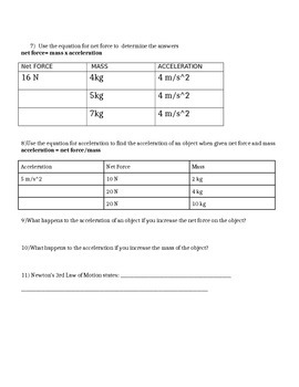 Newton's Laws of Motion Quiz or Worksheet