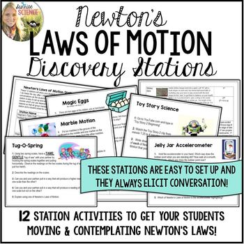Newton's Laws of Motion Discovery Stations {editable}