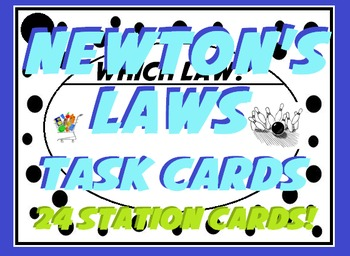 Newton's Laws of Motion Task Card Sort -Real World Example